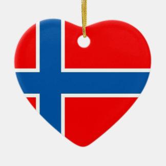 Norway flag ceramic heart ornament