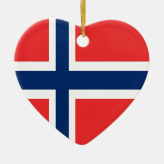 Norway flag design on product ceramic heart ornament