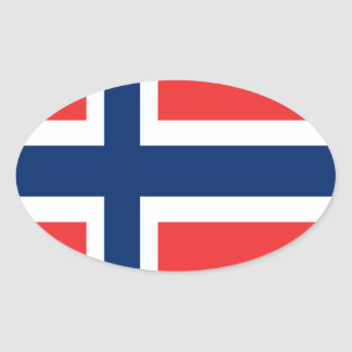 Norway flag design on product oval sticker