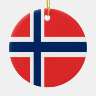 Norway flag design on product round ceramic ornament