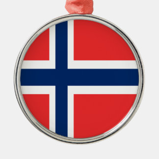 Norway flag design on product Silver-Colored round ornament