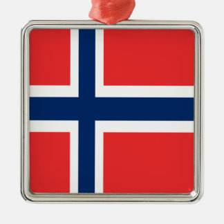Norway flag design on product Silver-Colored square ornament