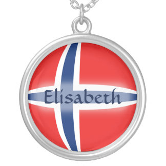 Norway Flag + Name Necklace