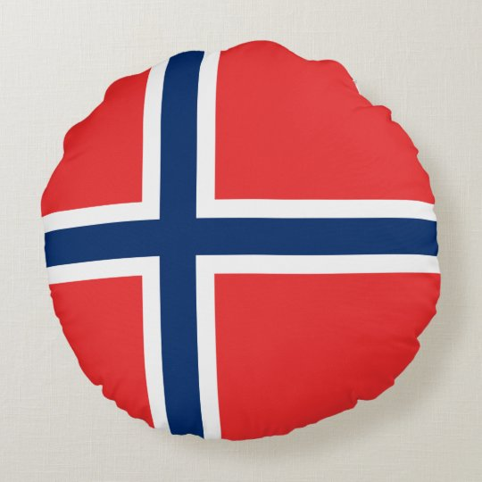 Norway Flag Round Pillow