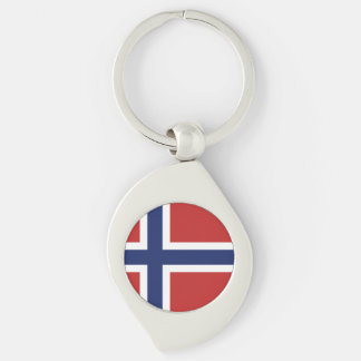 Norway Flag Silver-Colored Swirl Keychain