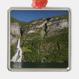 Norway, Geirangerfjord (UNESCO), Geiranger. Silver-Colored Square Ornament