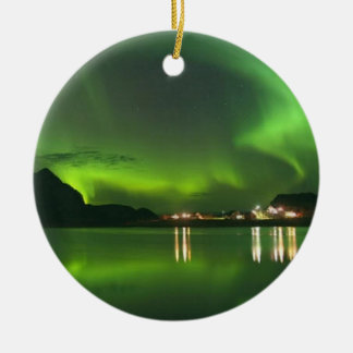 Norway Green Lights Round Ornament