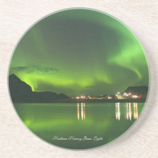 Norway Green Lights Sandstone Drink Coaster