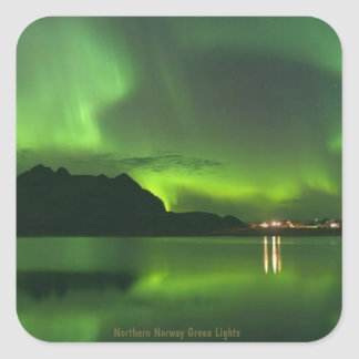 Norway Green Lights Square Sticker