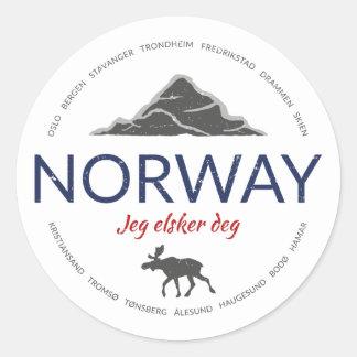 Norway grunge button classic round sticker