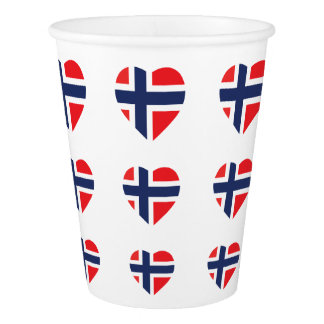 NORWAY HEART SHAPE FLAG PAPER CUP