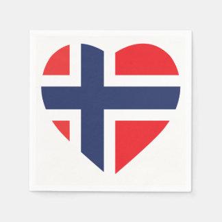 NORWAY HEART SHAPE FLAG PAPER NAPKINS
