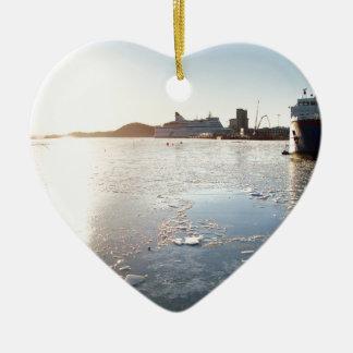 Norway Ice Ceramic Heart Ornament
