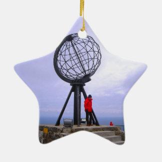 Norway, North Cape, globe symbol Ceramic Star Ornament