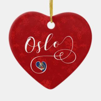 Norway Oslo Heart, Christmas Tree Ornament