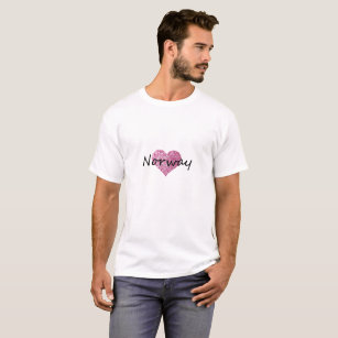 Norway Pink Glitter Heart T-Shirt