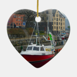 Norway, port on the north coast ceramic heart ornament