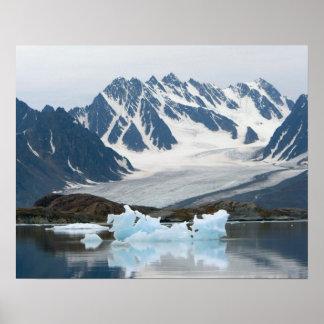 Norway, Receding Glacier and iceberg Poster