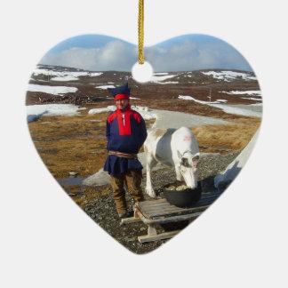 Norway, Sami settlement in Lapland Ceramic Heart Ornament