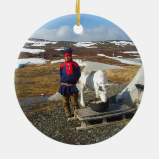 Norway, Sami settlement in Lapland Round Ceramic Ornament