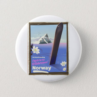 Norway Snowboarding vintage style travel poster 2 Inch Round Button