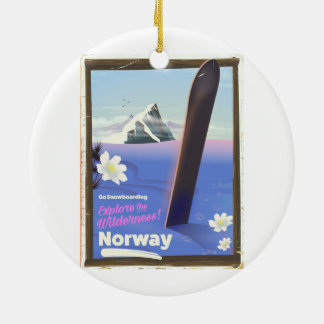 Norway Snowboarding vintage style travel poster Ceramic Ornament