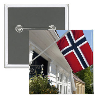 Norway, Stavanger. Historic downtown views. 2 Inch Square Button