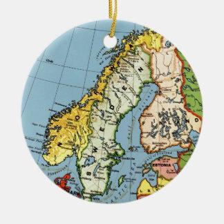 Norway Sweden Denmark Map Design Ceramic Ornament
