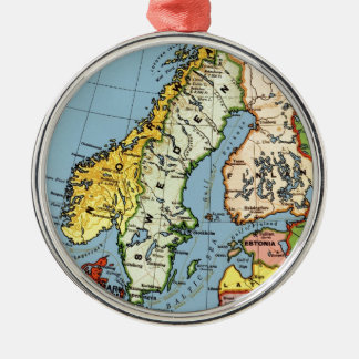 Norway Sweden Denmark Map Design Silver-Colored Round Ornament