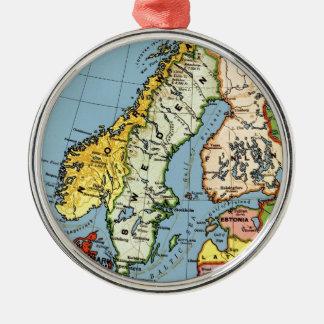 Norway Sweden Denmark Map Design Silver-Colored Round Ornament
