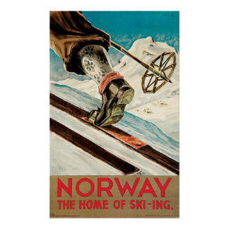 Norway The Home of Skiing Vintage Poster