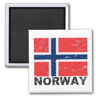 Norway Vintage Flag Square Magnet