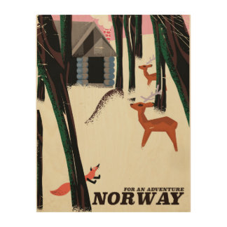 Norway vintage travel poster landscape