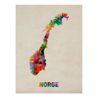 Norway Watercolor Map Poster