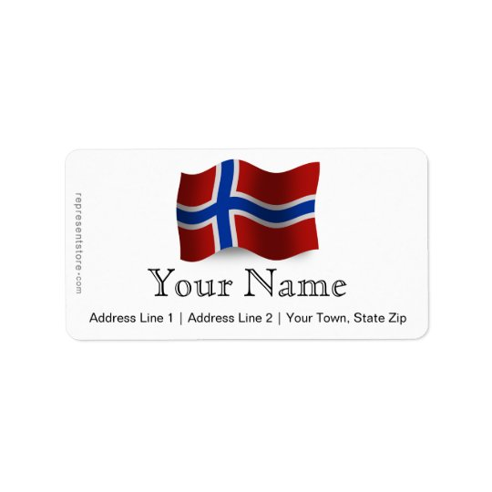 Norway Waving Flag Label