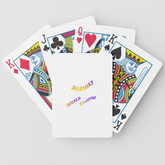 Norway world country, colorful text art bicycle playing cards