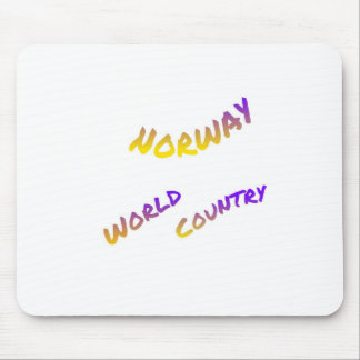 Norway world country, colorful text art mouse pad