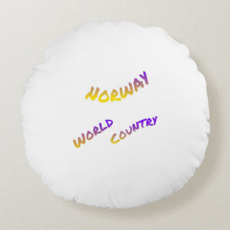 Norway world country, colorful text art round pillow