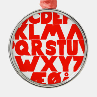 Norwegian Alphabet Silver-Colored Round Ornament