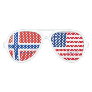 Norwegian American Flag Aviator Sunglasses
