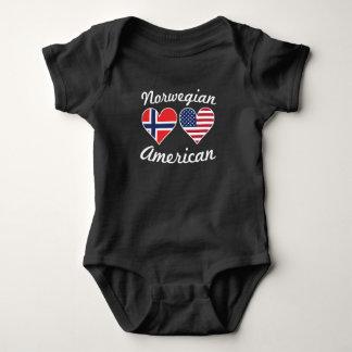 Norwegian American Flag Hearts Baby Bodysuit