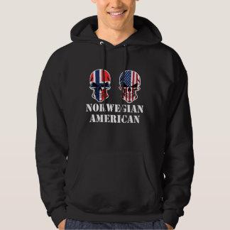 Norwegian American Flag Skulls Hoodie