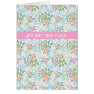 Norwegian Birthday Card: Pink Dogroses on Blue Card