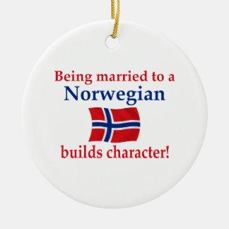 Norwegian Builds Character Round Ceramic Ornament