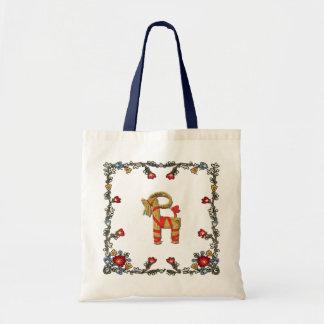 Norwegian Bunad Floral and Julbock Christmas Goat Budget Tote Bag
