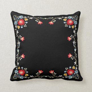 Norwegian Bunad Folk Costume Pattern on Black Throw Pillow