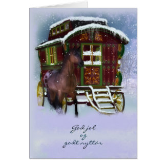 Norwegian Christmas Card - Horse And Old Caravan -