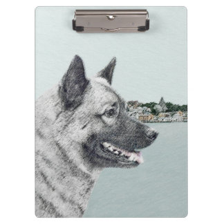 Norwegian Elkhound at Village Painting - Dog Art Clipboard