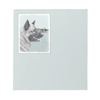 Norwegian Elkhound at Village Painting - Dog Art Notepad
