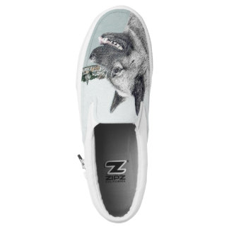 Norwegian Elkhound at Village Painting - Dog Art Slip-On Sneakers